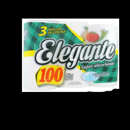 ROLLO COCINA ELEGANTE X 100 PAÑOS X 3 U X 8 PAQUETES